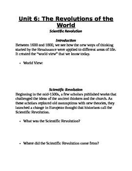 World History Scientific Revolution Handout