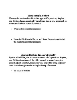 World History Scientific Revolution Handout