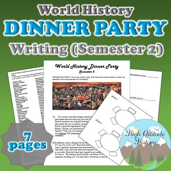 Dinner Party Host Writing Assessment (World History Semester 2)