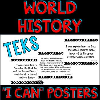 """World History TEKS """"I Can"""" Statement Posters and Checklist"""