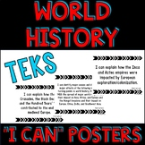"World History TEKS ""I Can"" Statement Posters and Checklist"