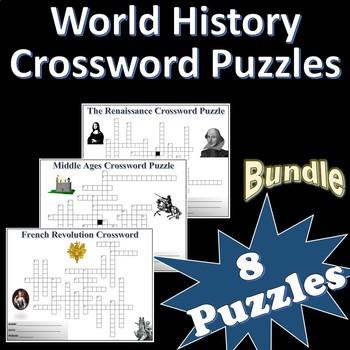 World History Terminology Crossword Puzzles Bundle