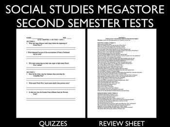 World History Tests Second Semester