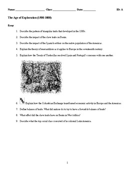 World History - The Age of Exploration (1500-1800) Discussion/Essay Questions