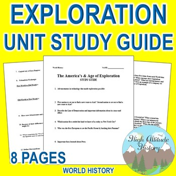 Exploration Unit Study Guide (World History) Americas & Exploration
