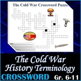 World History - The Cold War Crossword Puzzle Activity Worksheet