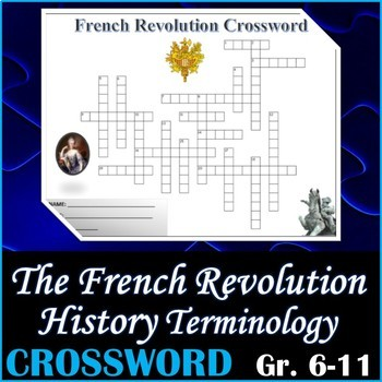 World History - The French Revolution Crossword Puzzle Activity Worksheet
