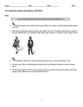 World History - The French Revolution and Napoleon (1789-1815) Essay Questions