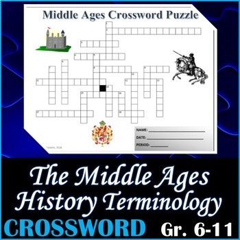 World History - The Middle Ages Crossword Puzzle Activity Worksheet