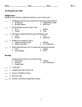 World History - The Mongols and China (Quiz or Study Guide)