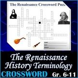 World History - The Renaissance Crossword Puzzle Activity Worksheet
