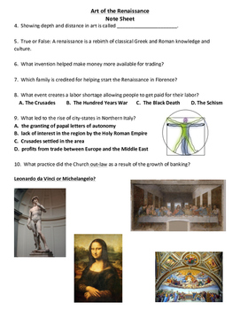 World History: The Renaissance Unit Interactive Notebook