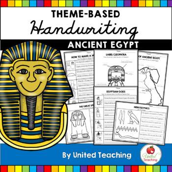 World History Theme Based Handwriting Lessons Growing Bundle (Manuscript)