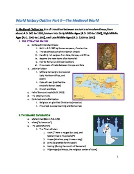 World History Timeline Part II- The Medieval World