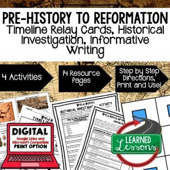 World History Timeline & Writing Activities Paper/Google World History BUNDLE