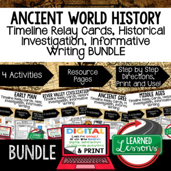 World History Timeline & Writing Activities Paper, Google,  World History BUNDLE