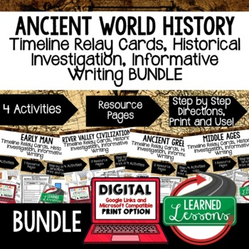 World History Timeline Relay, Research, Writing Activities