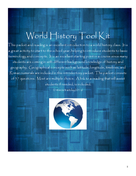 World History Tool Kit Packet (Introduction to World History/Geography Class)