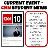 Current Event worksheet - CNN  student news - 3 different versions