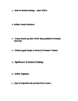 World War I Unit Study Guide (U.S. History / World History)