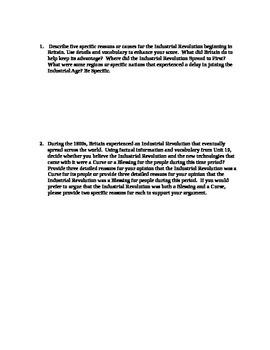 Industrial Revolution Unit Study Guide (World History / U.S. History)