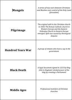 World History - Post-Classical Era - Quiz-Quiz-Trade Cards