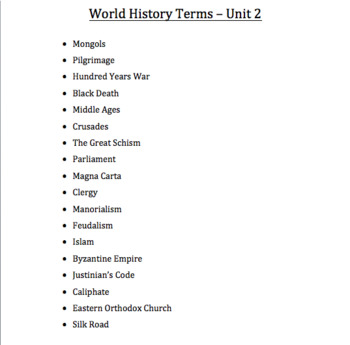 World History - Post-Classical Era - Vocabulary Cards