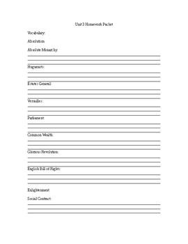 World History Unit 3 Homework Packet