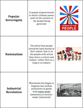 World History - Revolutions, Industry, and Imperialism - Vocabulary Cards