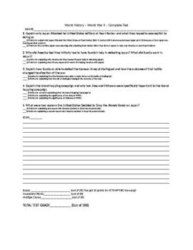 World History - Unit 6 - World War II - Complete Test