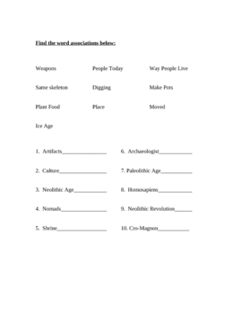 World History Vocabulary for slow learners and substitute material SLP