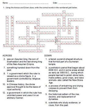 World History Vocabulary Practice Crossword Worksheets