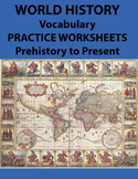 World History Vocabulary Practice Worksheets Prehistory to