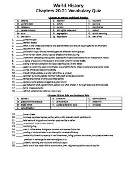World History Vocabulary Quizzes