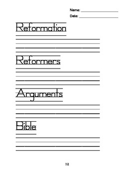 World History Vocabulary Writing