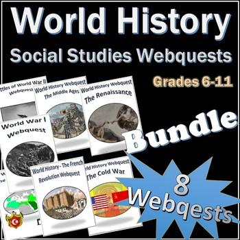 World History Webquest Activity + Vocab Quizzes Bundle