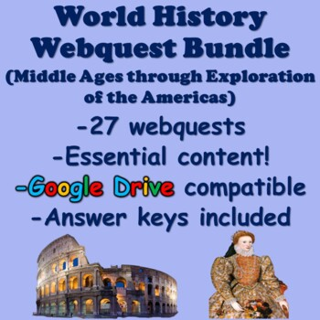 World History Webquest Bundle (Middle Ages to Exploration of the Americas)