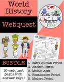 World History Webquest Five Periods BUNDLE (Ancient, Middl
