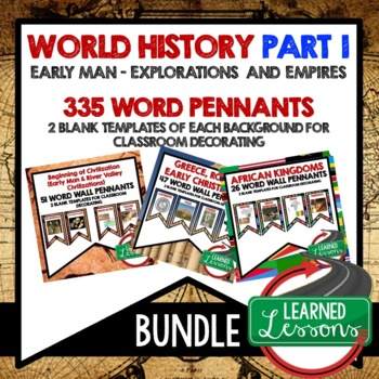 World History Word Wall Early Man to Empires Pennants (Wor