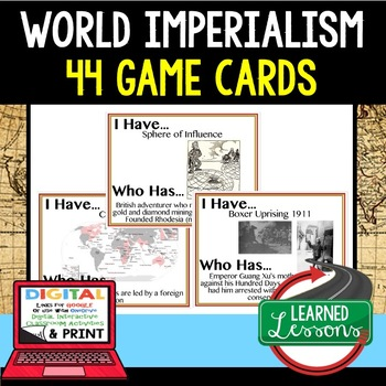 World History World Imperialism 44 I Have Who Has Game Cards