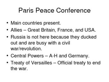 World History World War I
