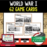 World History World War I 62 I Have Who Has Game Cards