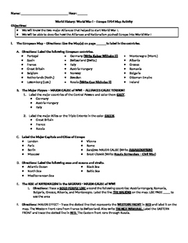 World History World War I Map Activity Instructions & Questions Student Copy