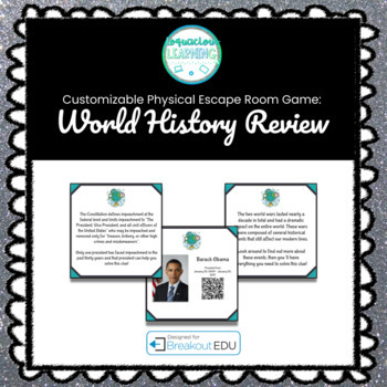 World History Year End Review Customizable Escape Room / Breakout Game