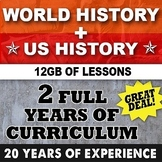 World History and US History Curriculum Bundle 2 Full Years