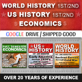 World History & US History & Economics Curriculum Activity Writing Bundle 3 Year