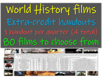 World History film extra credit handouts: one for each quarter (80 choices)