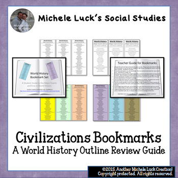 World History or Civilizations Bookmarks Course or Class Outline Review Guide