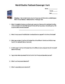 World History textbook scavenger hunt worksheet