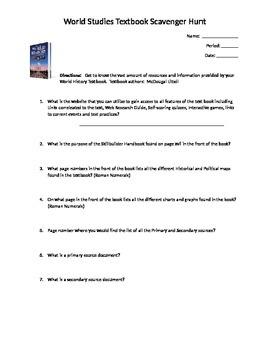 World History textbook scavenger hunt worksheet